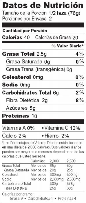 Foto de información nutricional de Cebollas Salteadas