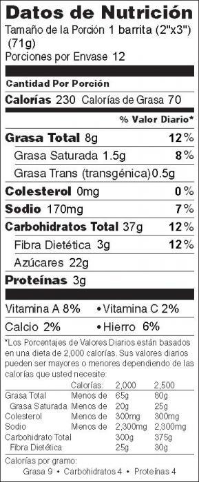 Foto de información nutricional de Barritas de Manzana