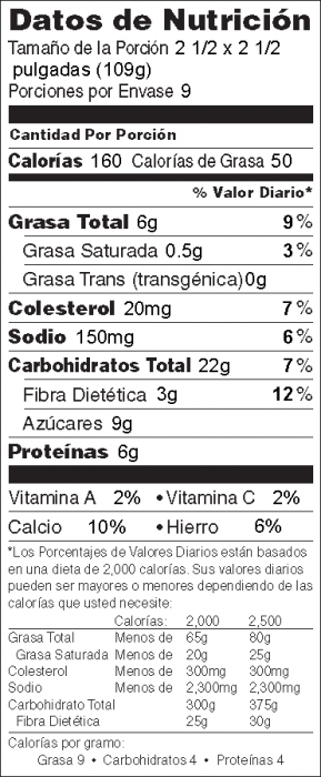 Foto de información nutricional de Avena al Horno con Especies y Manzanas