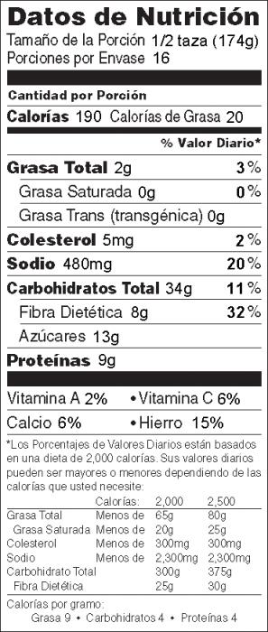 Foto de  información nutricional de Guisado de Frijoles al Horno