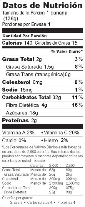 Foto de información nutricional de Botes de Bananas