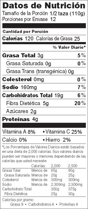 Foto de  información nutricional de Ensalada de Cebada, Frijol y Elote