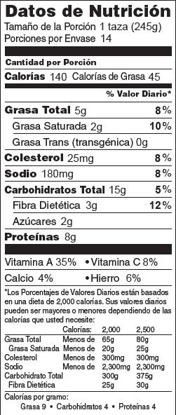 Foto de  información nutricional de Sopa de Cebada con Carne