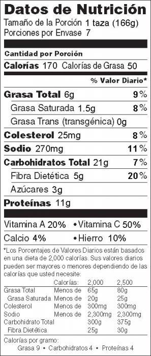 Foto de información nutricional de Carne de Res y Brócoli