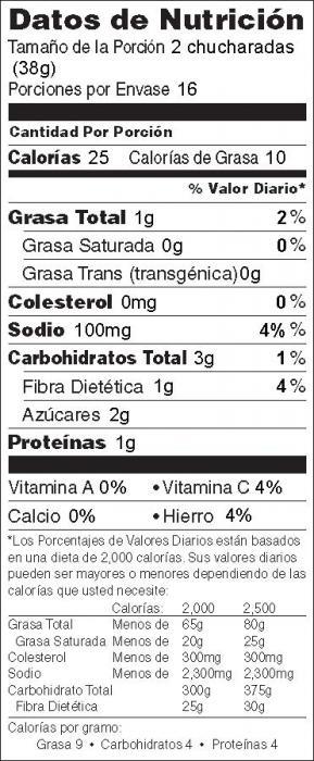 Foto de información nutricional de Crema para Untar de Betabel
