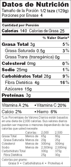 Foto de información nutricional arándanos Elaborados