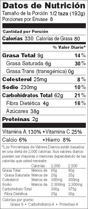 Foto de  información nutricional de Postre Crujiente de Manzana y Calabaza Tipo