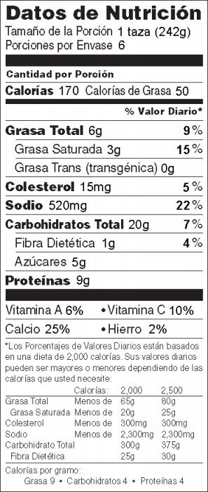 Foto de  información nutricional de Sopa de Papa con Queso