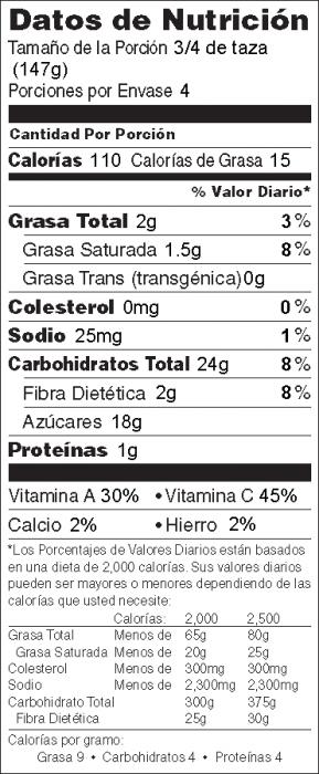 Foto de  información nutricional de Ensalada de Cerezas
