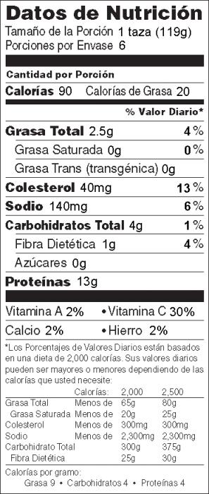 Foto de  información nutricional de Sofrito de Pollo y Col