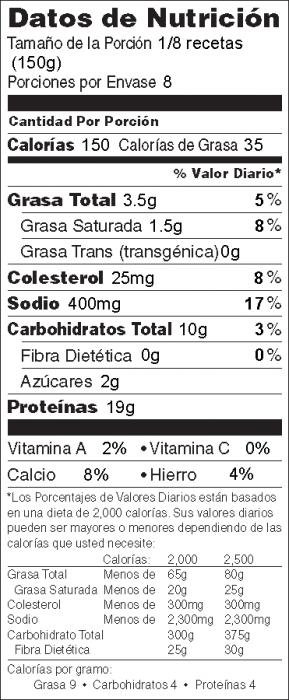Foto de  información nutricional de Pescado Cocido Crujiente con Queso Parmesano