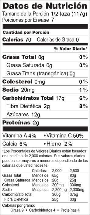 Foto de  información nutricional de Yogur Congelado con Frutas