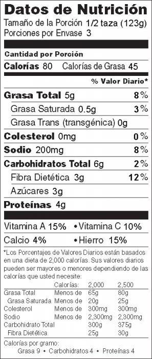 Foto de  información nutricional de Espárragos con Jenjibre y Almendras