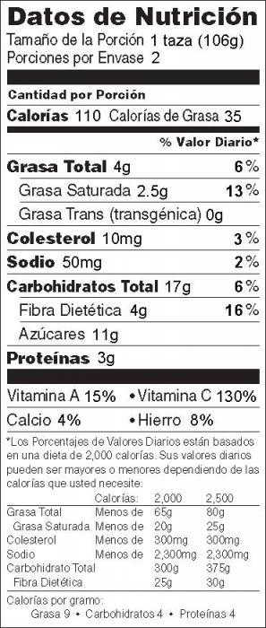 Foto de información nutricional de Coles de Bruselas Tostadas con Miel y Mostaza