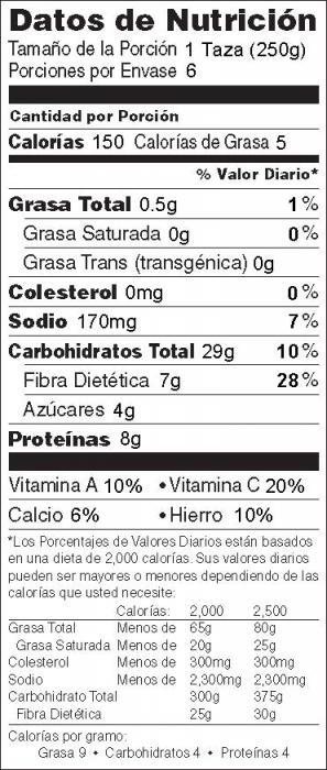Foto de  información nutricional de Lentejas y Pasta al Estilo Hindú