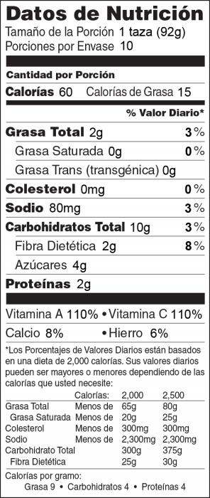 Foto de  información nutricional de Ensalada de Col Rizada