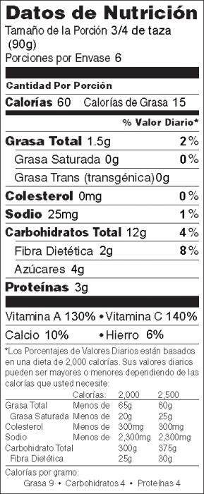 Foto de  información nutricional de Sofrito de Col Rizada y Arandano Rojo