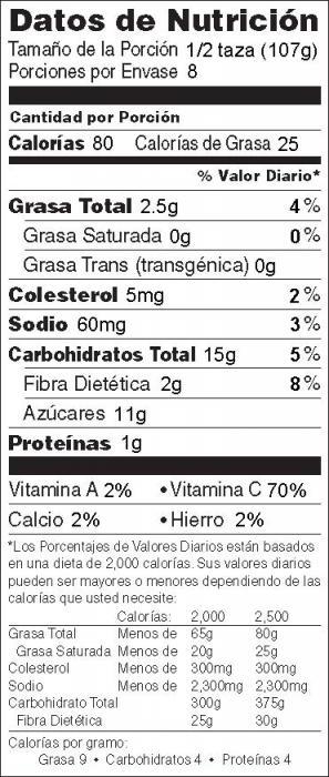 Foto de  información nutricional de Ensalada de Repollo con Kiwi y Piña