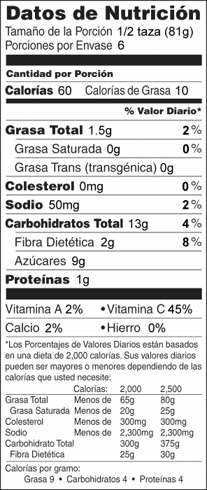 Foto de  información nutricional de Ensalada de Kiwi, Plátano y Manzana