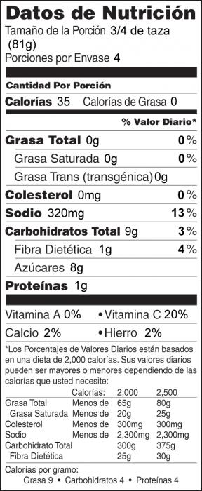 Foto de  información nutricional de Rábanos Dorados