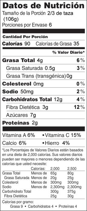 Foto de información nutricional de Ejotes con Cebollas y Almendras