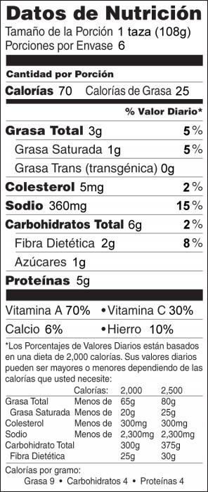Foto de  información nutricional de Ensalada Verde con Chícharos