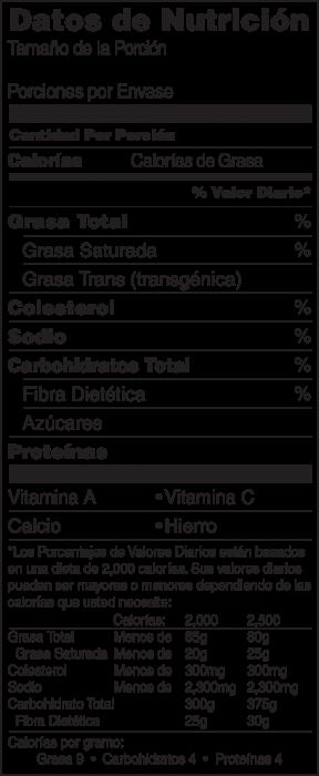 Foto de información nutricional de Chips de Manzana al Horno