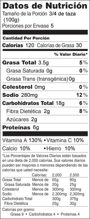 Foto de  información nutricional de Espinacas con Garbanzos