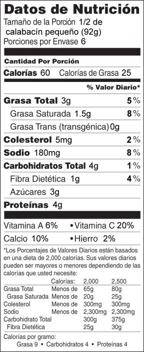 Foto de información nutricional de Barquitos de Calabacita