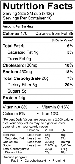 Photo of Nutrition Facts of Easy Skillet Chili