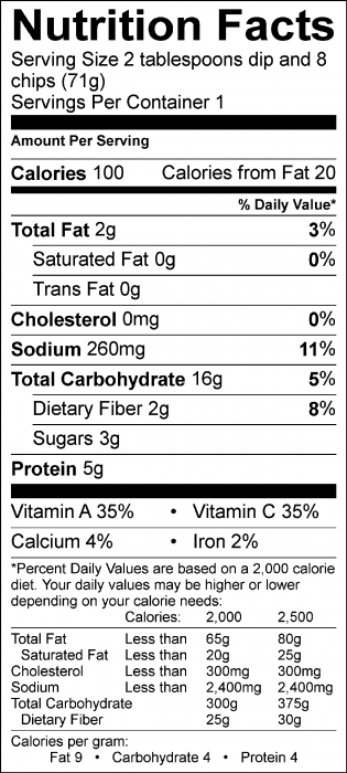 Photo of Nutrition Facts of Kale Dip with Food Hero Baked Tortilla Chips