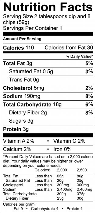 Photo of Nutrition Facts of Lemony Garbanzo Bean Dip with Food Hero Baked Tortilla Chips