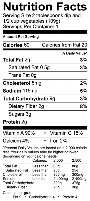 Photo of Nutrition Facts of Lemony Garbanzo Bean Dip with fresh vegetables