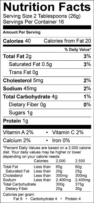 Photo of Nutrition Facts of Lemony Garbanzo Bean Dip