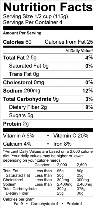 Photo of Nutrition Facts of Quick Tomato Pasta Sauce