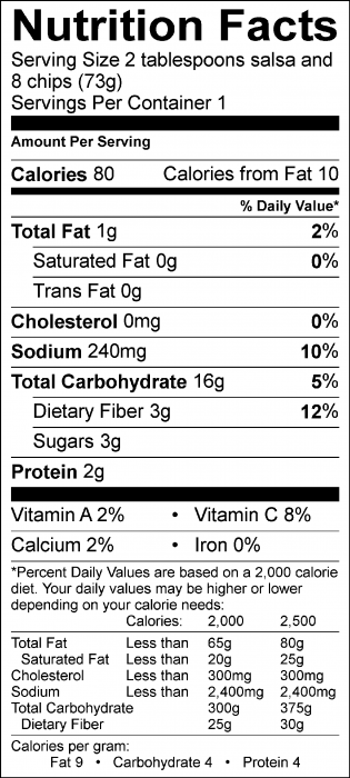 Photo of Nutrition Facts of Quick Tomato Salsa with Food Hero Baked Tortilla Chips