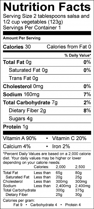 Photo of Nutrition Facts of Quick Tomato Salsa with fresh vegetables