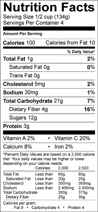 Photo of Nutrition Facts of Razzleberry Shiver