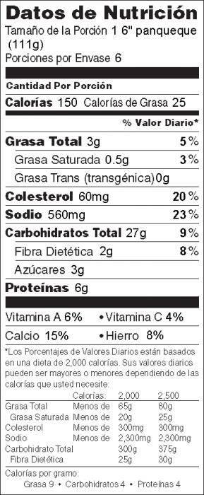 Foto de  información nutricional de Panqueques de Elote