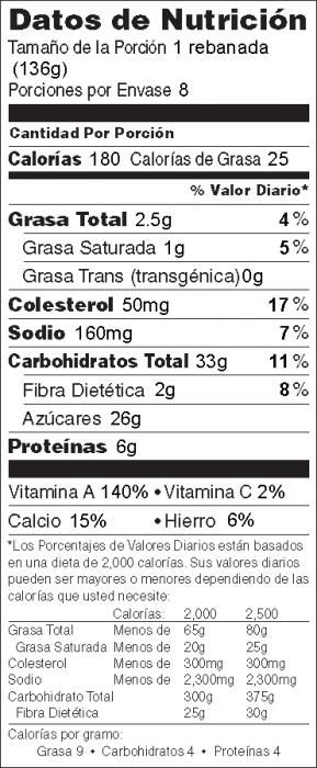 Foto de  información nutricional de Pastel de Calabaza Tipo Flan