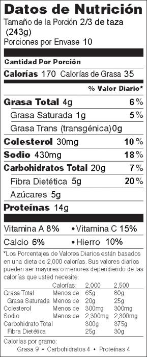 Foto de información nutricional de Chili Fácil a la Sartén