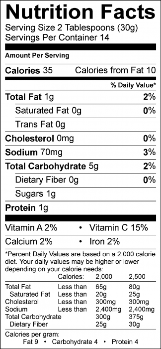 Photo of Nutrition Facts of Pinto Bean Dip
