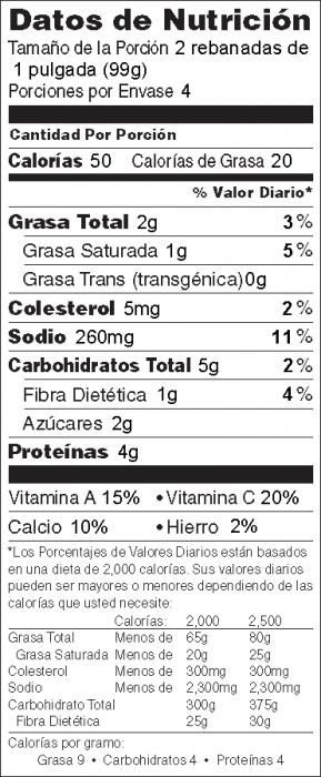 Foto de  información nutricional de Tomates con Queso al Horno