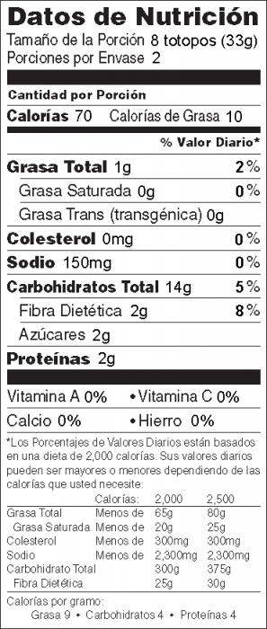 Foto de información nutricional de Totopos de Maíz Horneados