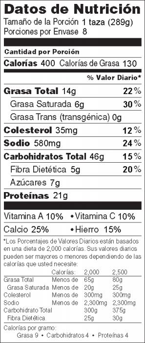Foto de  información nutricional de Pasta con Carne y Queso