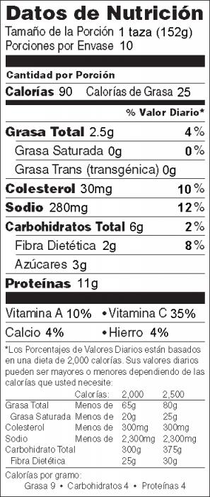 Foto de información nutricional de Pollo a la Criolla con salsa de chile casera