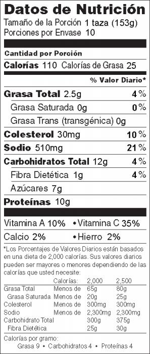 Foto de información nutricional de Pollo a la Criolla con salsa de chile preparada