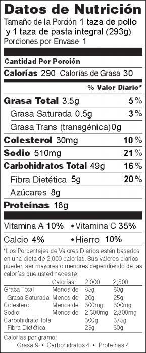 Foto de información nutricional de Pollo a la Criolla con pasta integral