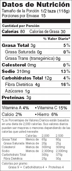 Foto de  información nutricional de Ensalada Vaquero con aguacate