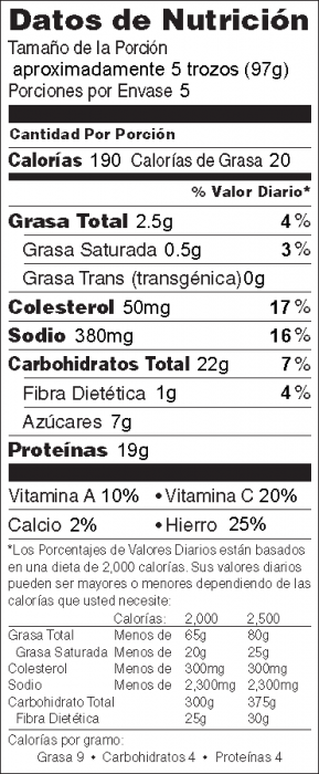 Foto de  información nutricional de Trozos de Pollo Crujientes  con salsa de barbacoa casera